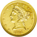 Liberty Half Eagles: , 1864 $5 AU58 NGC. With a mintage of only 4,100 business strikes,the 1864 half eagle is an elusive issue for the date colle...