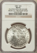 Morgan Dollars, 1887 $1 Olathe Dollar Hoard MS65 NGC. Ex: From U.S. Treasury Bags.NGC Census: (25445/3991). PCGS Population (14771/1455). ...