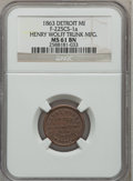 Civil War Merchants, 1863 Henry Wolff Trunk Mfg., Detroit, MI, MS61 Brown NGC.Fuld-MI225CS-1a....