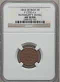 Civil War Merchants, 1863 Blindbury's Hotel, Detroit, MI, AU58 NGC. Fuld-MI225D-1a....