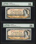Canadian Currency: , BC-42a $50 1954 Two Consecutive Examples. ... (Total: 2 notes)