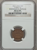 Civil War Merchants, 1863 Sherwood & Hopson, Utica, NY, MS63 Brown NGC.Fuld-NY905C-1a....