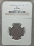 "Half Cents, 1804 1/2 C Plain 4, Stems ""Spiked Chin"" XF45 NGC. C-8. NGC Census:(11/52). PCGS Population (6/8). Numismedia Wsl. Price ..."
