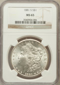 Morgan Dollars: , 1881-S $1 MS65 NGC. NGC Census: (50120/20445). PCGS Population(47649/13771). Mintage: 12,760,000. Numismedia Wsl. Price fo...