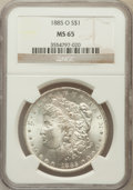 Morgan Dollars: , 1885-O $1 MS65 NGC. NGC Census: (26141/4872). PCGS Population(17509/2423). Mintage: 9,185,000. Numismedia Wsl. Price for p...