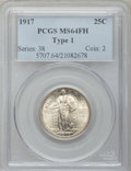 Standing Liberty Quarters: , 1917 25C Type One MS64 Full Head PCGS. PCGS Population (1678/1426).NGC Census: (1272/1095). Mintage: 8,740,000. Numismedia...