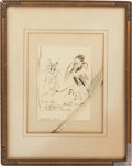 Books:Original Art, [Eric Pape]. Arthur Rackham. Original Inscribed Ink Drawing. NewYork: Autumn, 1929. A charming drawing of a mouse and a c...