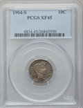 Barber Dimes: , 1904-S 10C XF45 PCGS. PCGS Population (18/100). NGC Census: (6/64).Mintage: 800,000. Numismedia Wsl. Price for problem fre...