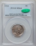 Buffalo Nickels: , 1918 5C MS64 PCGS. CAC. PCGS Population (371/234). NGC Census:(221/76). Mintage: 32,086,314. Numismedia Wsl. Price for pro...
