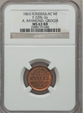 Civil War Merchants, 1863 A. Raymond, Grocer, Fond Du Lac, WI, MS63 Red and Brown NGC.Fuld-WI220L-2a....