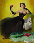 Pin-up and Glamour Art, ART FRAHM (American, 1906-1981). Glamorous Pin-Up withRoses. Oil on canvas. 28.75 x 22.75 in. (image). Signed upperlef...