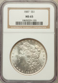 Morgan Dollars: , 1887 $1 MS65 NGC. NGC Census: (25445/3991). PCGS Population(14771/1455). Mintage: 20,290,710. Numismedia Wsl. Price for pr...