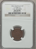 Civil War Merchants, 1863 C.R. Walker, Buffalo, NY, AU50 NGC. Fuld-NY105R-1a....