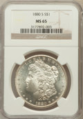 Morgan Dollars: , 1880-S $1 MS65 NGC. NGC Census: (31626/14382). PCGS Population(32610/11530). Mintage: 8,900,000. Numismedia Wsl. Price for...