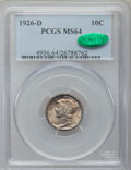 Mercury Dimes: , 1926-D 10C MS64 PCGS. CAC. PCGS Population (44/25). NGC Census:(58/37). Mintage: 6,828,000. Numismedia Wsl. Price for prob...
