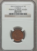 Civil War Merchants, 1863 Perkins & Smith, Stoves, Fond Du Lac, WI, MS63 Red andBrown NGC. Fuld-WI220J-2a....