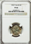 Proof Jefferson Nickels: , 1942-P 5C Type Two PR66 NGC. NGC Census: (1018/377). PCGSPopulation (1416/340). Mintage: 27,600. Numismedia Wsl. Pricefor...