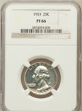 Proof Washington Quarters: , 1953 25C PR66 NGC. NGC Census: (380/963). PCGS Population(799/723). Mintage: 128,800. Numismedia Wsl. Price for problemfr...