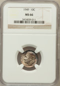 Roosevelt Dimes: , 1949 10C MS66 NGC. NGC Census: (562/243). PCGS Population (622/71).Mintage: 30,940,000. Numismedia Wsl. Price for problem ...