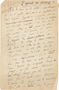 Books:Manuscripts, Anatole France (pseudonym of Jacques Anatole Thibault, Frenchauthor and Nobel Laureate, 1844-1924). Autograph Manuscripts of ...(Total: 2 Items)