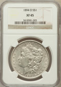 Morgan Dollars: , 1894-O $1 XF45 NGC. NGC Census: (399/2939). PCGS Population(590/2986). Mintage: 1,723,000. Numismedia Wsl. Price for probl...