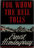 "Books:Literature 1900-up, Ernest Hemingway. For Whom the Bell Tolls. Scribners, 1940.First edition, first printing with ""A"". Later state dj w..."