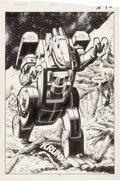 Original Comic Art:Splash Pages, Don Perlin, Ian Akin, and Brian Garvey The Transformers #27Dinobot Splash Page 11 Original Art (Marvel, 1987)....