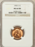 Lincoln Cents: , 1955-S 1C MS66 Red NGC. NGC Census: (5934/2681). PCGS Population(3319/236). Mintage: 44,610,000. Numismedia Wsl. Price for...