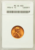 Lincoln Cents: , 1956-D 1C MS66 Red ANACS. NGC Census: (1937/97). PCGS Population(1347/28). Mintage: 1,098,201,088. Numismedia Wsl. Price f...