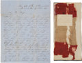 Miscellaneous:Ephemera, [Fall of Richmond]. Richard F. Andrews Autograph Letter Signed witha Fragment of the Flag which Flew over Richmond.... (Total: 3Items)