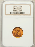 Lincoln Cents: , 1954-S 1C MS67 Red NGC. NGC Census: (645/0). PCGS Population(189/0). Mintage: 96,190,000. Numismedia Wsl. Price for proble...