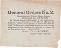 Miscellaneous:Ephemera, [Civil War]. Union Broadside. General Orders No. 2Addressing Confederate POWs....
