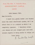 Autographs:Authors, Vita Sackville-West Typed Letter Signed...