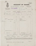 Autographs:Celebrities, [HMS Titanic]. Account of Wages for Edneser EdwardWheelton....