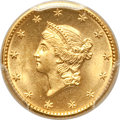 Gold Dollars, 1849 G$1 No L MS65 PCGS. CAC....