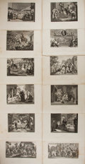 Books:Prints & Leaves, [William Hogarth]. Lot of Twelve Engraved Prints. [N.p.]: Mottram,[n.d., ca. 1830's]. Quarto sheets. Approximately 8.5 x 10...