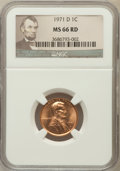 Lincoln Cents: , 1971-D 1C MS66 Red NGC. NGC Census: (115/5). PCGS Population(192/19). Numismedia Wsl. Price for problem free NGC/PCGS coi...