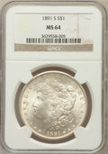 Morgan Dollars: , 1891-S $1 MS64 NGC. NGC Census: (1290/242). PCGS Population(1940/481). Mintage: 5,296,000. Numismedia Wsl. Price for probl...