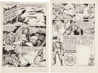 """Joe Simon Adventures of the Fly #2 Complete 2-page Private Strong Story """"Sneak Attack"""" Original Art (Archie, 1..."""