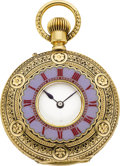 Timepieces:Pocket (pre 1900) , Swiss Gold & Enamel Demi-Hunter, circa 1880's. ...