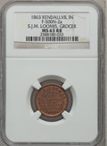 Civil War Merchants, 1863 S.J.M. Loomis, Grocer, Kendallville, IN, MS63 Red and BrownNGC. Fuld-IN500N-2a....