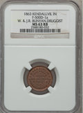 Civil War Merchants, 1863 W. & J.R. Bunyan, Druggist, Kendallville, IN., MS63 Redand Brown NGC. Fuld-IN500D-1a....