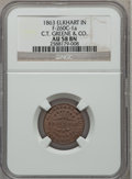 Civil War Merchants, 1863 C.T. Greene & Company, Elkhart, IN, AU58 NGC.Fuld-IN260C-1a....