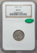 Bust Dimes: , 1833 10C AU53 NGC. CAC. NGC Census: (9/237). PCGS Population(17/189). Mintage: 485,000. Numismedia Wsl. Price for problem ...