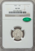 Bust Dimes: , 1831 10C AU58 NGC. CAC. NGC Census: (46/178). PCGS Population(29/137). Mintage: 771,350. Numismedia Wsl. Price for problem...