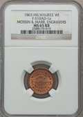Civil War Merchants, 1863 Mossin & Marr, Engravers, Milwaukee, WI, MS65 Red andBrown NGC. Fuld-WI510AD-1a....