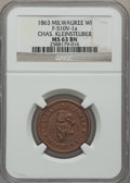 Civil War Merchants, 1863 Chas. Kleinsteuber, Milwaukee, WI, MS63 Brown NGC.Fuld-WI510V-1a....