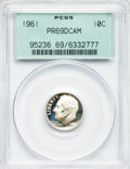 Proof Roosevelt Dimes: , 1961 10C PR69 Deep Cameo PCGS. PCGS Population (58/4). NGC Census:(27/0). Numismedia Wsl. Price for problem free NGC/PCGS...