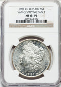 Morgan Dollars: , 1891-CC $1 MS61 Prooflike NGC. Top-100, Vam-3 Spitting Eagle. NGCCensus: (35/255). PCGS Population (53/438). Numismedia W...
