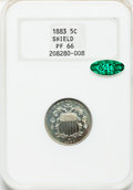 Proof Shield Nickels: , 1883 5C PR66 NGC. CAC. NGC Census: (225/45). PCGS Population(192/23). Mintage: 5,419. Numismedia Wsl. Price for problem fr...